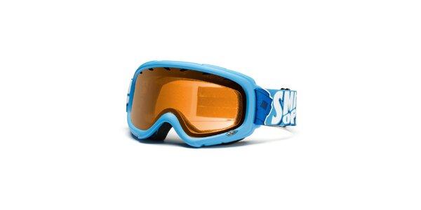 Blankytně modré lyžařské brýle Smith se zlatě zabarvenými skly