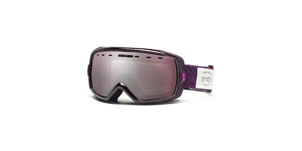 Fialové lyžařské brýle Smith se zrcadlovým efektem