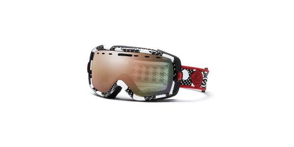 Dámské černobílé lyžařské brýle s motivem růže Smith