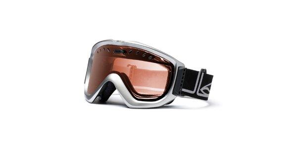 Pánské stříbrné lyžařské brýle Smith se zlatě zabarvenými sklíčky
