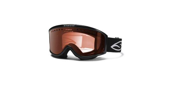 Pánské černé lyžařské brýle Smith se zlatě zabarvenými sklíčky