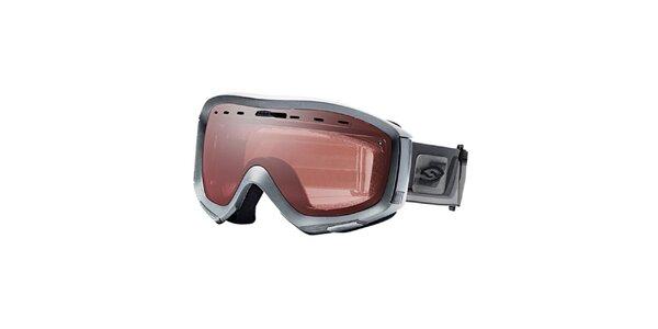 Stříbrné lyžařské brýle Smith s růžově zlatými sklíčky