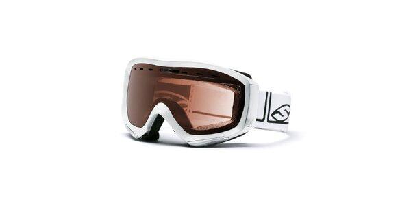 Bílé lyžařské brýle Smith s hnědými sklíčky