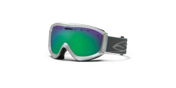 Stříbrné lyžařské brýle Smith se zelenými duhovými sklíčky