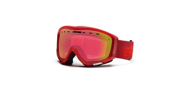 Malinové lyžařské brýle se zrcadlovými sklíčky Smith