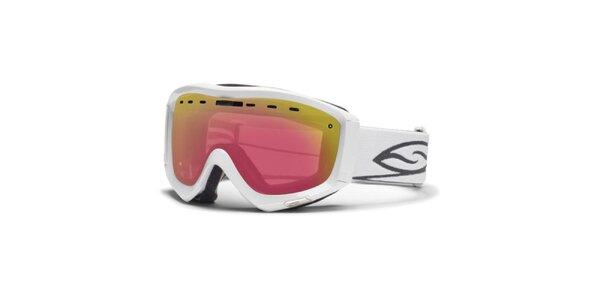 Bílé lyžařské brýle Smith s duhovými sklíčky