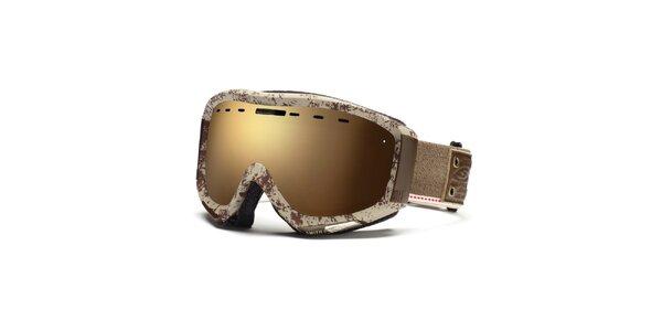 Krémovo-hnědé lyžařské brýle Smith se vzorkem