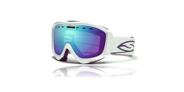 Bílé lyžařské brýle Smith s modrými duhovými sklíčky