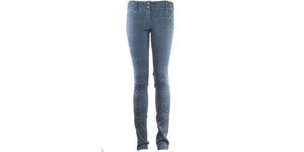 Dámské modré vzorované kalhoty Hype