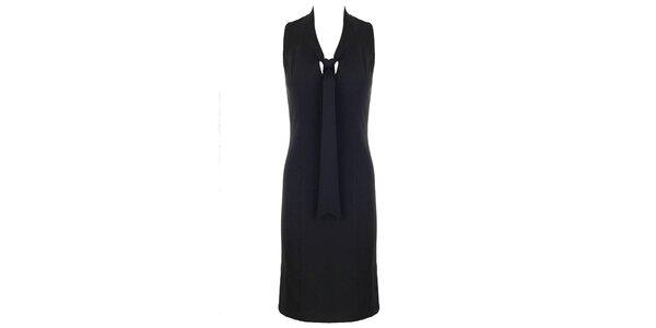Dámské černé šaty s vázačkou Hype