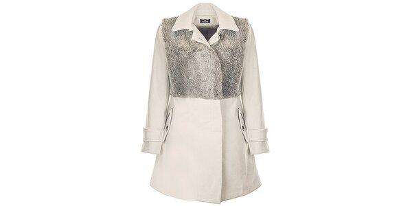 Dámský béžový kabát s umělou kožešinou Le Vertige