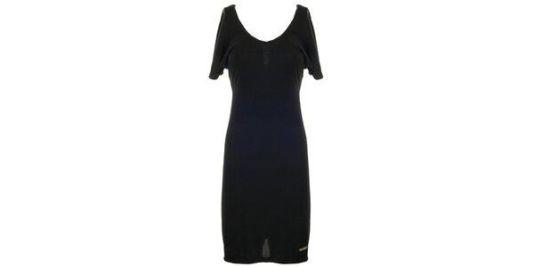 Dámské černé šaty se zlatým zipem Le Vertige