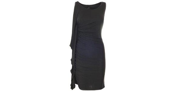 Dámské černé šaty s bočním volánem Le Vertige