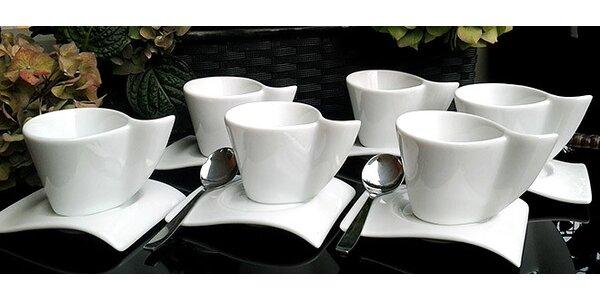 Sada 6 kávových šálků a podšálků