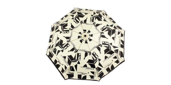 Dámský krémovo-černý vystřelovací deštník s logem Ferré Milano