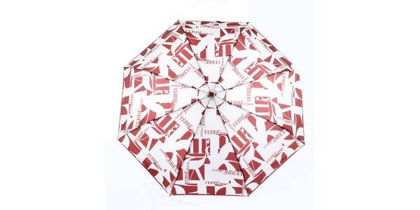Dámský červeno-bílý vystřelovací deštník s logem Ferré Milano