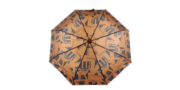 Dámský karamelovo-černý vystřelovací deštník s logem Ferré Milano