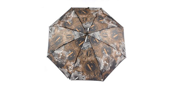 Dámský hnědo-černý velký vystřelovací deštník Ferré Milano