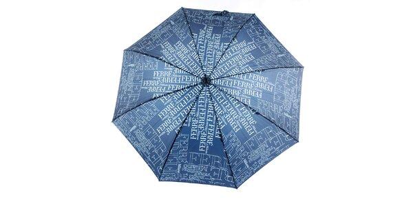 Dámský modrý deštník se vzorem Ferré Milano