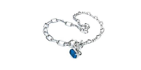 Dámský ocelový náhrdelník s modrým přívěskem Dolce&Gabbana