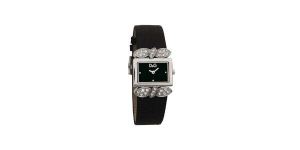 Dámské černé hodinky Dolce & Gabbana s krystaly