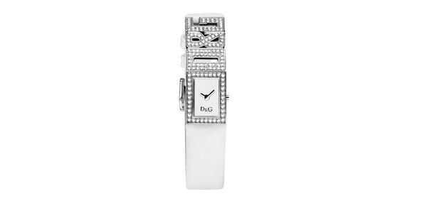 Dámské bílé hodinky Dolce & Gabbana s třpytivými ocelovými komponenty