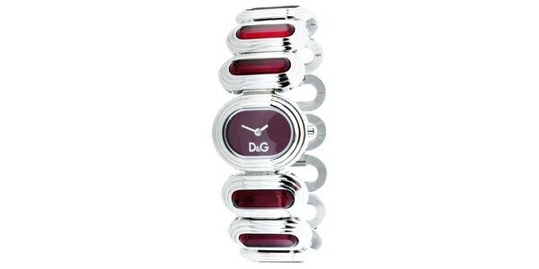 Dámské stříbrno-červené hodinky Dolce&Gabbana