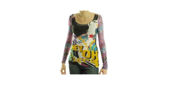 Dámské barevné tričko Custo Barcelona s potiskem