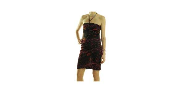 Dámské černé šaty Custo Barcelona s fialovým potiskem