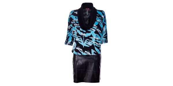 Dámské černé šaty Custo Barcelo se světle modrým plyšovým vzorem a koženkovou…