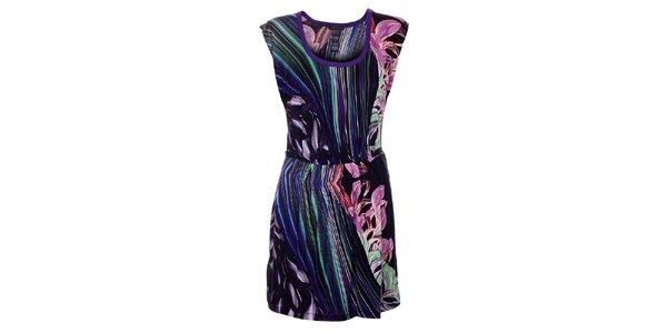 Dámské tmavě fialové šaty Custo Barcelona s barevným potiskem