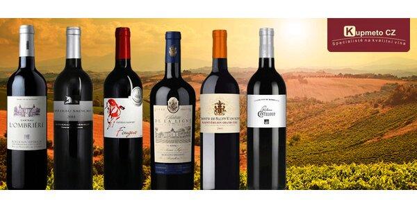 Sada šesti prémiových vín z Bordeaux