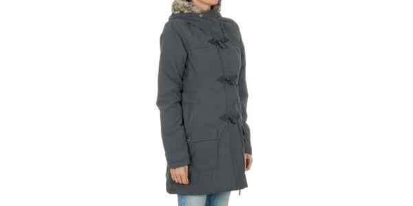 Dámský šedý kabát s kožíškem Bench