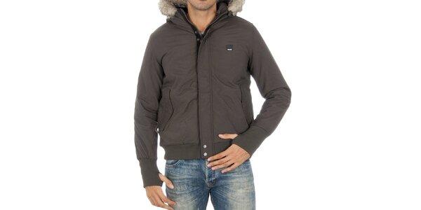 Pánská tmavě šedá bunda s kožíškem Bench