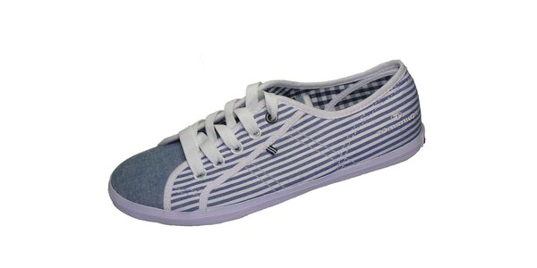 Dámské bílo-modré plátěné tenisky Tom Tailor