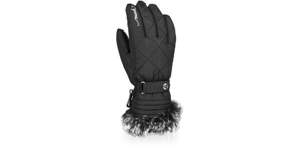 Dámské černé zimní rukavice Reusch s kožíškem