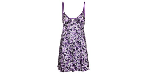 Dámská fialová noční košile Admas s květinovým vzorem