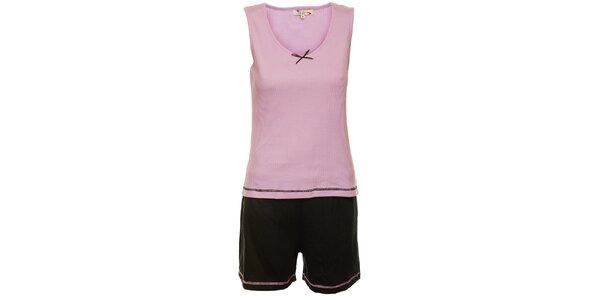 Dámské šeříkovo-černé pyžamo Isma - šortky a tílko
