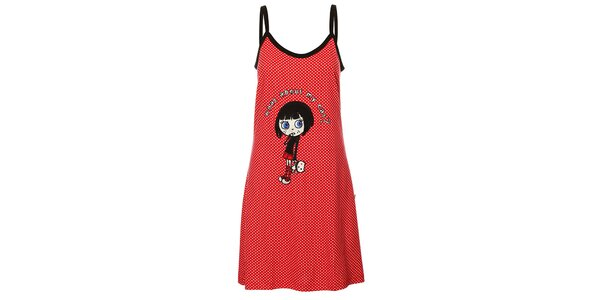 Dámská červená puntíkovaná noční košile Marie Claire s nášivkou