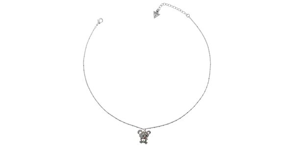 Dámský stříbrný náhrdelník Guess s medvídkem
