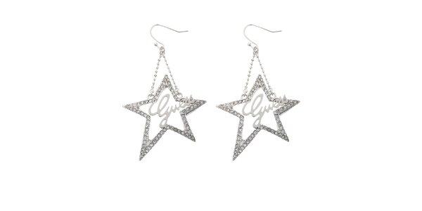 Dámské stříbrné náušnice Guess s hvězdičkami
