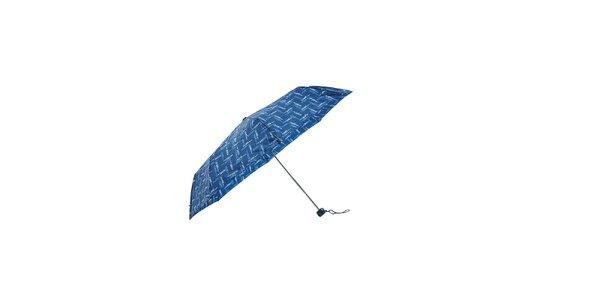Lehký modrý skládací deštník Ferré Milano s drobným vzorkem