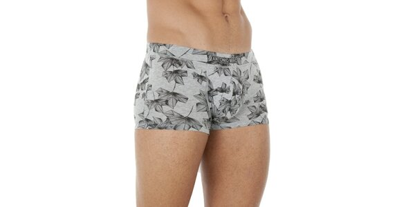 Pánské šedo-černé boxerky se vzorkem Antonio Miro