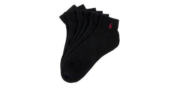 Troje černé pánské ponožky s lemem Ralph Lauren