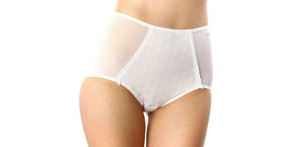 Dámské bílé vysoké kalhotky s puntíky DKNY