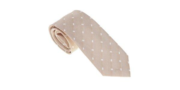 Luxusní béžová kravata s detaily Castellet Barcelona