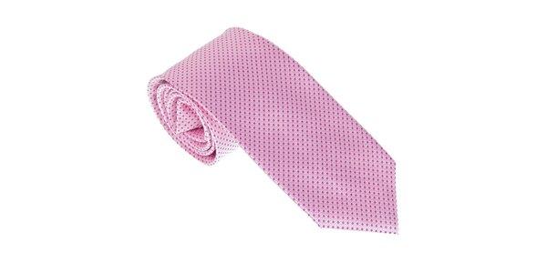 Luxusní růžová kravata s puntíky Castellet Barcelona