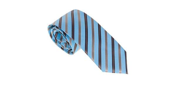 Luxusní modro - hnědá kravata s proužkem Castellet Barcelona
