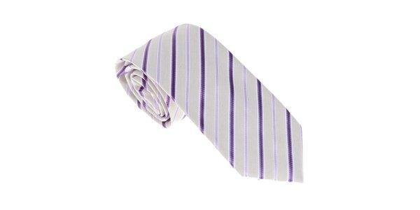 Luxusní krémovo - fialová kravata s proužkem Castellet Barcelona