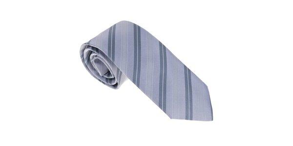 Luxusní šedo - modrá kravata s proužkem Castellet Barcelona